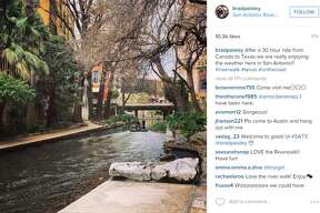 """""""After a 30 hour ride from Canada to Texas we are really enjoying the weather here in San Antonio!! #riverwalk #texas #ontheroad,"""" @BradPaisley."""