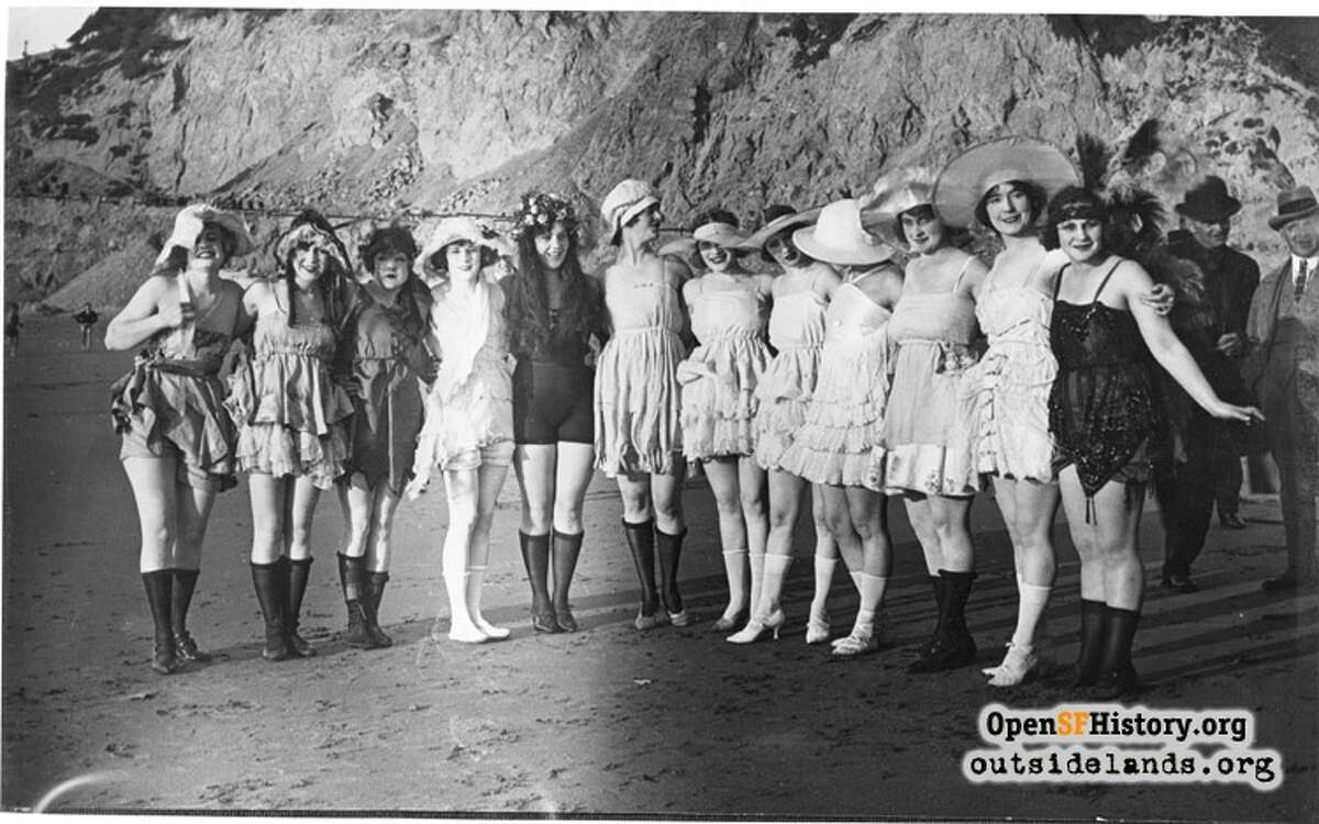 The 20s: Group of bathing beauties ca 1920 Point Lobos. Courtesy of OpenSFHistory.org.
