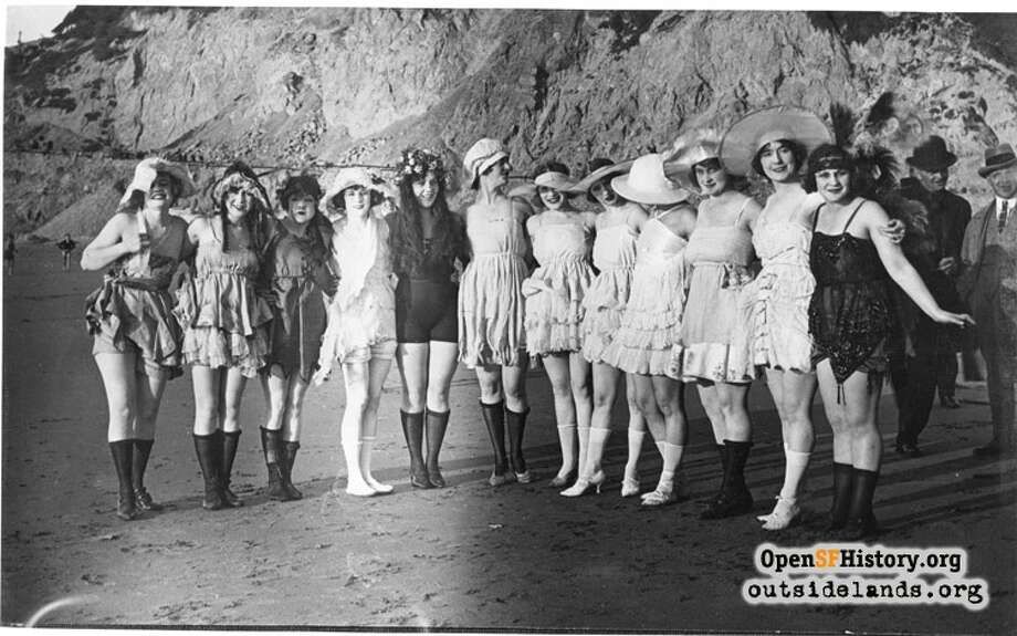 The 20s: Group of bathing beauties ca 1920 Point Lobos. Courtesy of OpenSFHistory.org. Photo: Courtesy Of OpenHistory.org