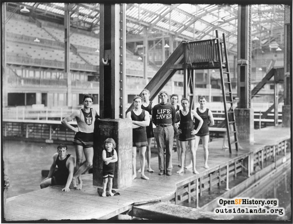 """The """"Life Saver"""" and swimmers circa 1910, courtesy of OpenSFHistory.org. Note the adorable little swimmer in the foreground."""
