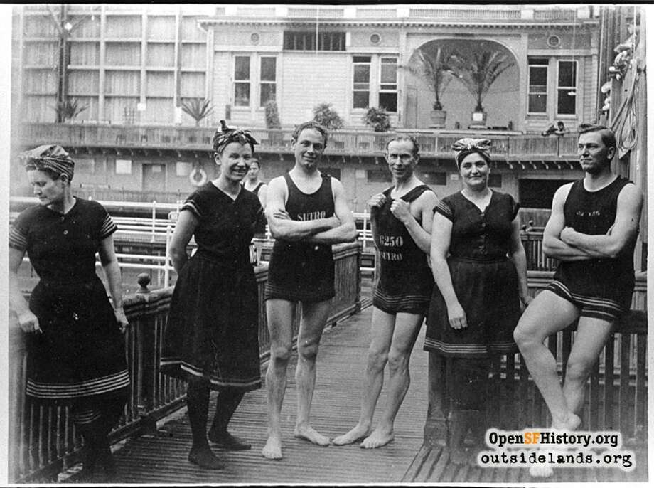 Sutro Baths Men and women bathers (1906) Three men and three women in bathing costume, courtesy of OpenSFHistory.org. Photo: Courtesy Of OpenSFHistory.org