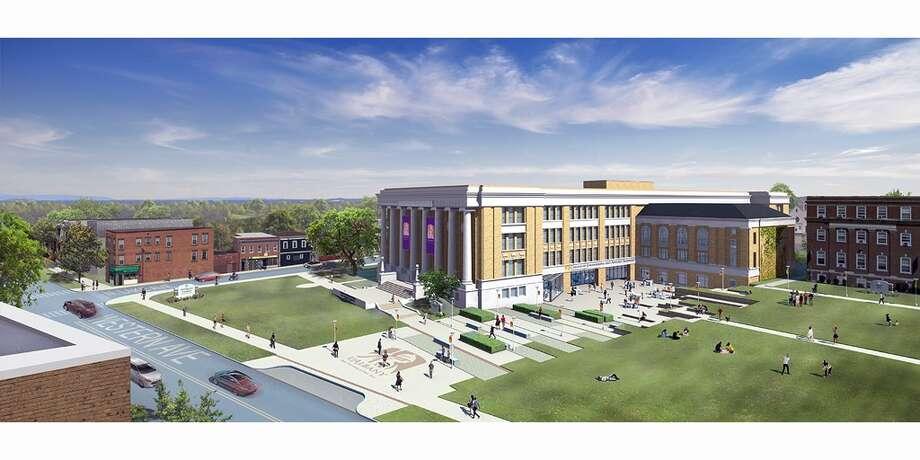 Rendering of new University at Albany engineering building on the downtown campus. (University at Albany)