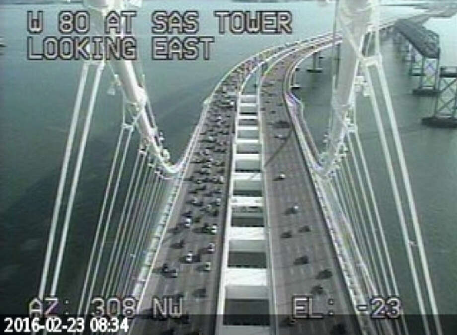 Eastbound lanes of the Bay Bridge were backed up during the Tuesday morning commute after a driver fled the CHP and spun out near the Yerba Buena tunnel.