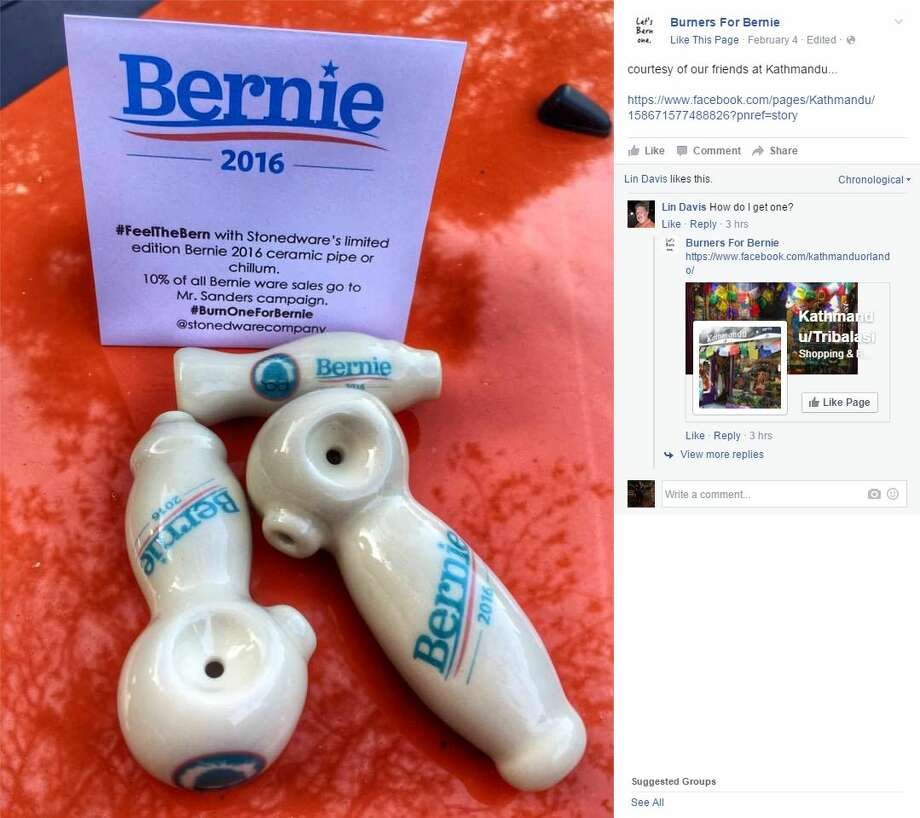 "Bernie Sanders supporters can take the phrase ""Feel the Bern"" to a whole new level by buying pipes and chillums with the campaign's logo from the Portland-based Stonedware Company. About 10 percent of the proceeds will go to the Sanders campaign, company owner Ariel Zimman says. Photo: Screenshot Via Facebook"