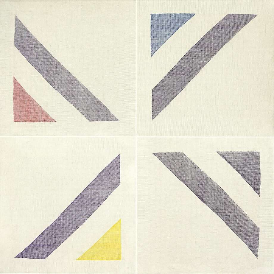 "Ruth Laskey's etching ""Twill Weave Grid (Permanent Violet/Ruby Red/Cobalt Blue/Primrose Yellow)."" Photo: Courtesy CAPITAL"