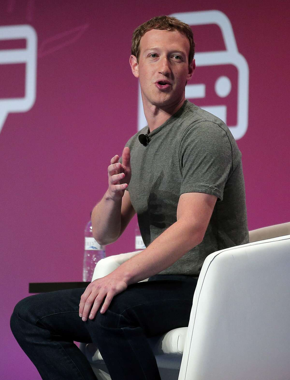 Facebook CEO Mark Zuckerberg gestures during a conference at the Mobile World Congress wireless show in Barcelona, Spain, Monday, Feb. 22, 2016. (AP Photo/Manu Fernandez)