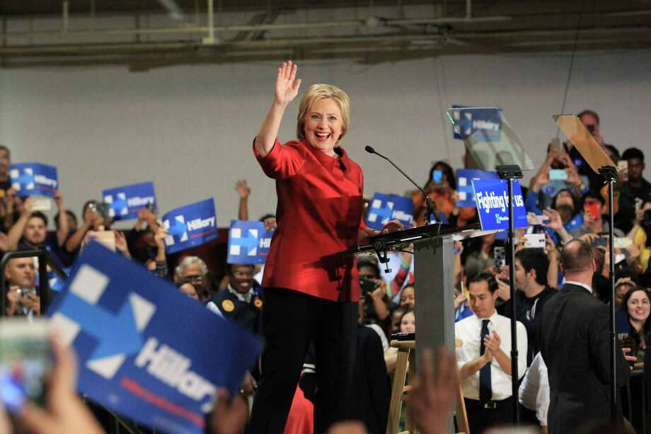 Hillary Clinton greets supporters during a campaign rally at Texas Southern University, Saturday Feb. 20, in Houston. ( Jon Shapley / Houston Chronicle ) Photo: Jon Shapley / Houston Chronicle