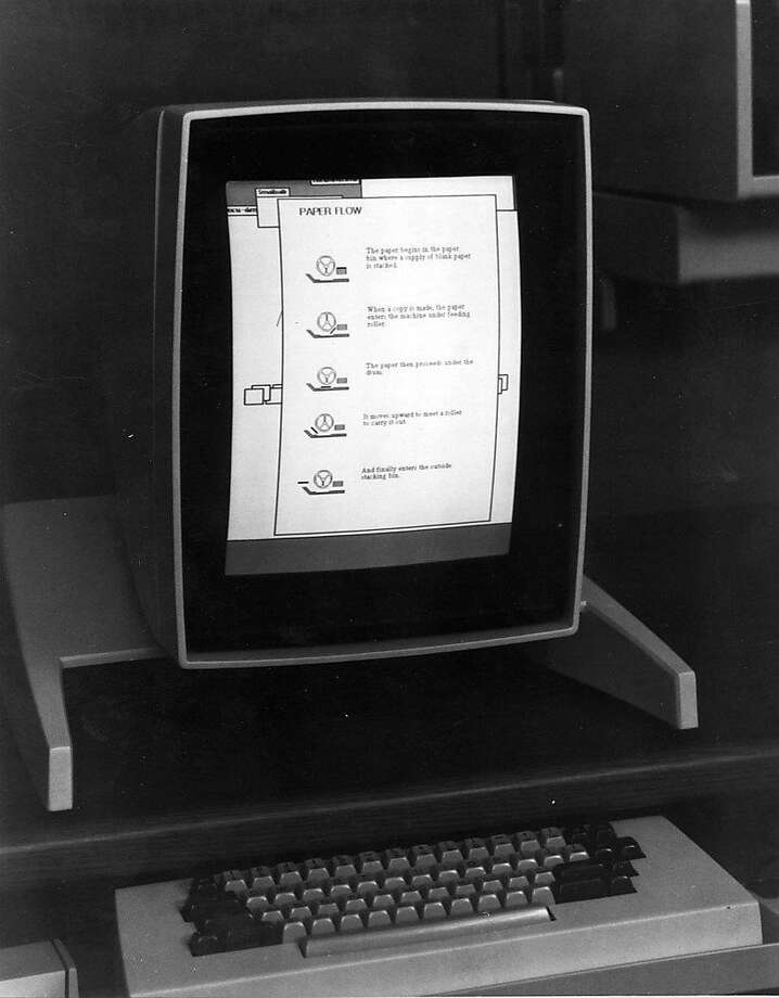 The Alto, left, was the world's first personal computer, developed with a graphical user interface in 1973  --  although this version is the one from 1975. It is one of many projects from the Xerox Palo Alto Research Center. Photo: Xerox Parc