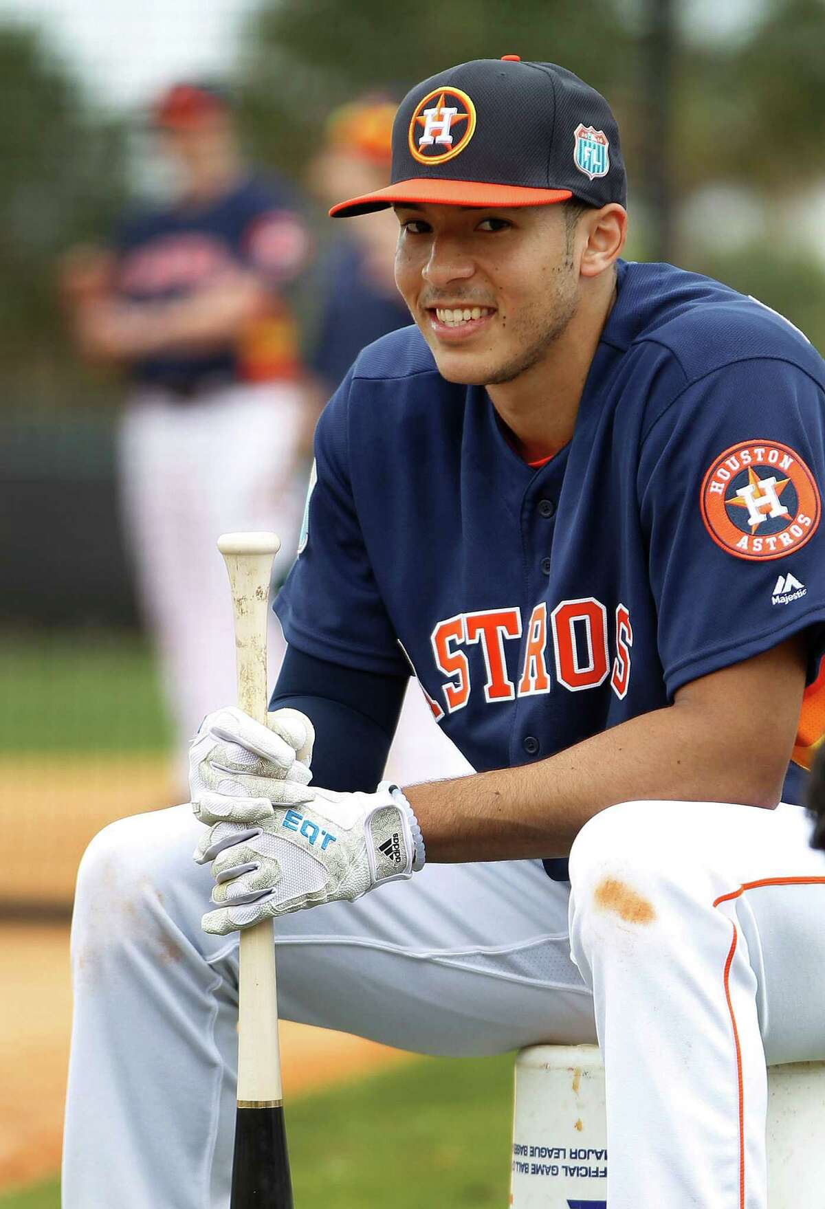 Houston Astros SS Carlos Correa waits his turn to bat during the first full-squad workouts at the Astros spring training in Kissimmee, Florida, Tuesday, Feb. 23, 2016.
