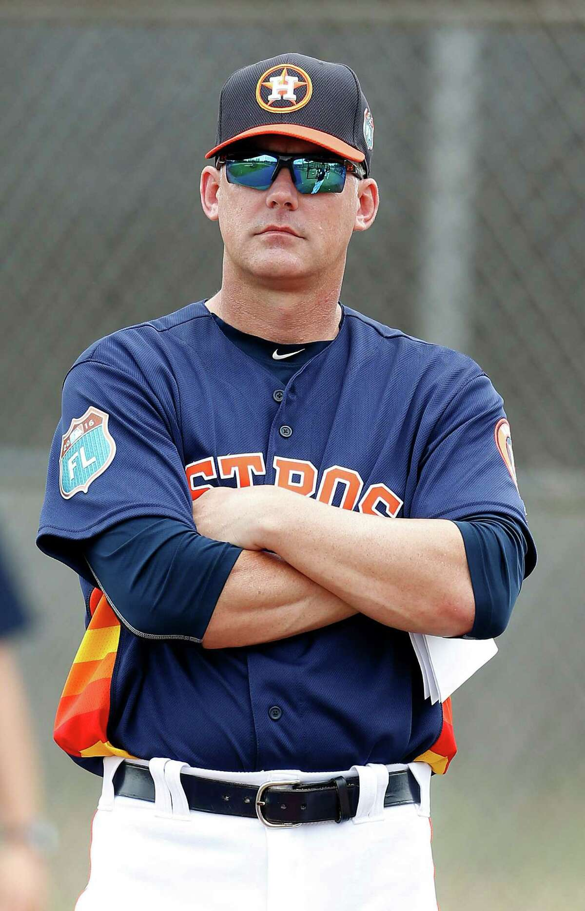 Houston Astros manager A.J. Hinch during the first full-squad workouts at the Astros spring training in Kissimmee, Florida, Tuesday, Feb. 23, 2016.
