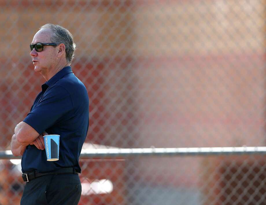 Houston Astros owner Jim Crane watches players during the first full-squad workouts at the Astros spring training in Kissimmee, Florida, Tuesday, Feb. 23, 2016. Photo: Karen Warren, Houston Chronicle / © 2015  Houston Chronicle