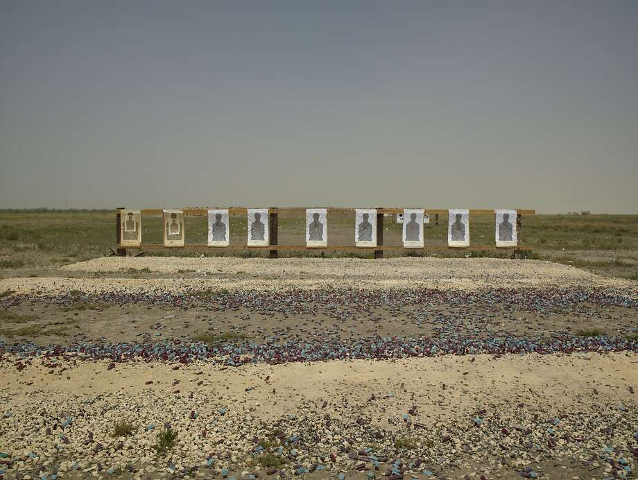 """Border Patrol Target Range, Boca Chica Highway, Lower Rio Grande National Wildlife Refuge, Texas"" is among the photographs by Richard Misrach in ""Border Cantos,"" his collaboration with composer Guillermo Galindo. Photo: Richard Misrach, Courtesy Of The Artist"