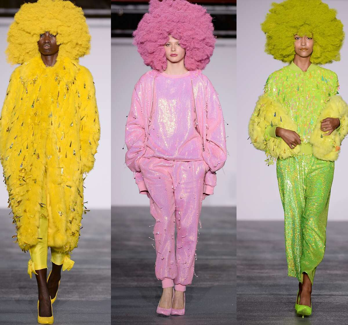 As London Fashion Week wrapped up on Tuesday, we couldn't help but think fashion gets a bit more imaginative across the pond. Take a look and tell us if you agree. We'd like to be invited next time someone has a glorious color-coordinated afro pajama party. (Ashish)