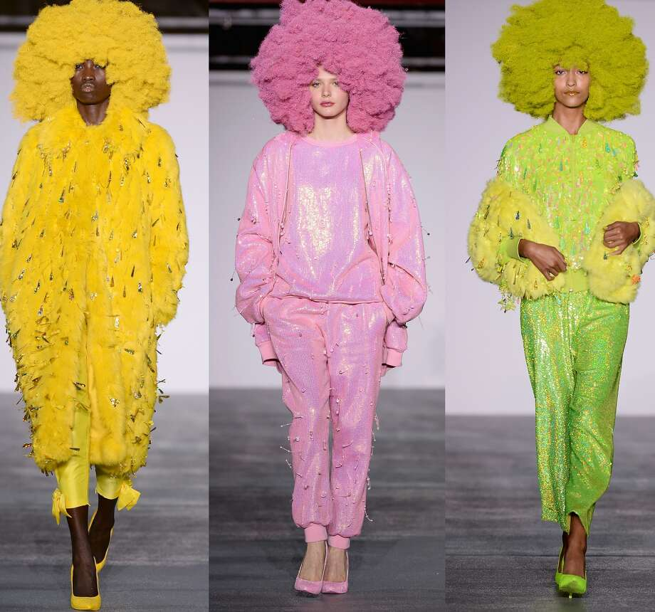 As London Fashion Week wrapped up on Tuesday, we couldn't help but think fashion gets a bit more imaginative across the pond. Take a look and tell us if you agree.We'd like to be invited next time someone has a glorious color-coordinated afro pajama party. (Ashish)