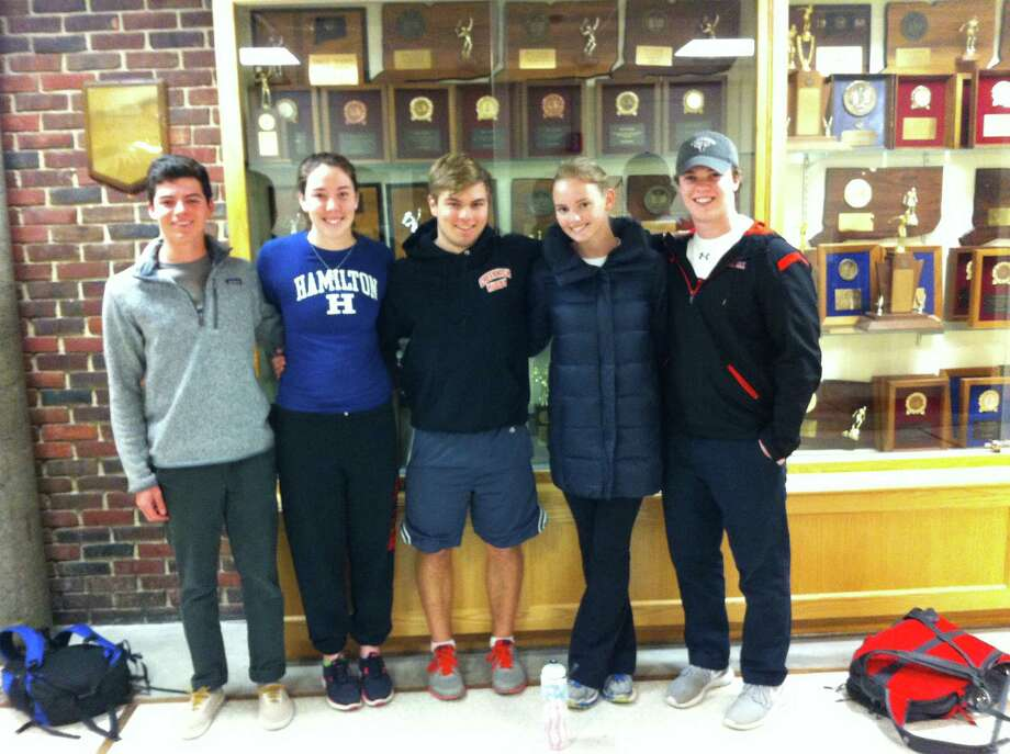 From left, Will Sisca, Meg Robinson, Owen Tedford, Kelly Gallagher and Paul Williams are the captains of the Greenwich High School skiing team. Both the boys and girls teams are in the midst of successful seasons and should contend for the State Open championship. Photo: David Fierro/Hearst Connecticut / Contributed Photo / David Fierro/Hearst Connecticut Media