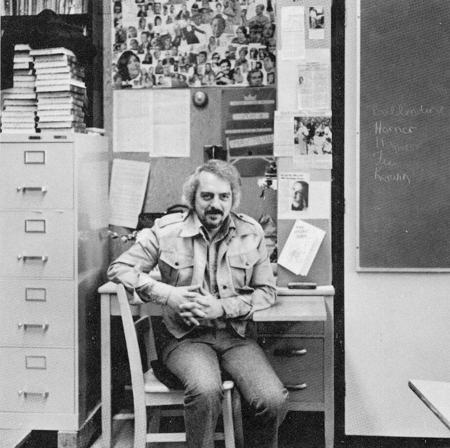 Flashback to 1975: Drama teacher George Ward in B-15, the drama room at Woodside High School. Photo: Courtesy Woodside High School