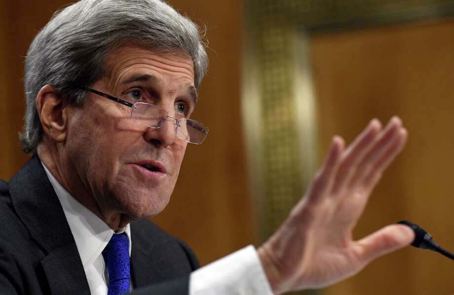 Secretary of State John Kerry testifies on Capitol Hill in Washington, Tuesday, Feb. 23, 2016, before the Senate Foreign Relations Committee hearing of the State Department's fiscal 2017 budget request.  (AP Photo/Susan Walsh) Photo: Susan Walsh, STF / AP