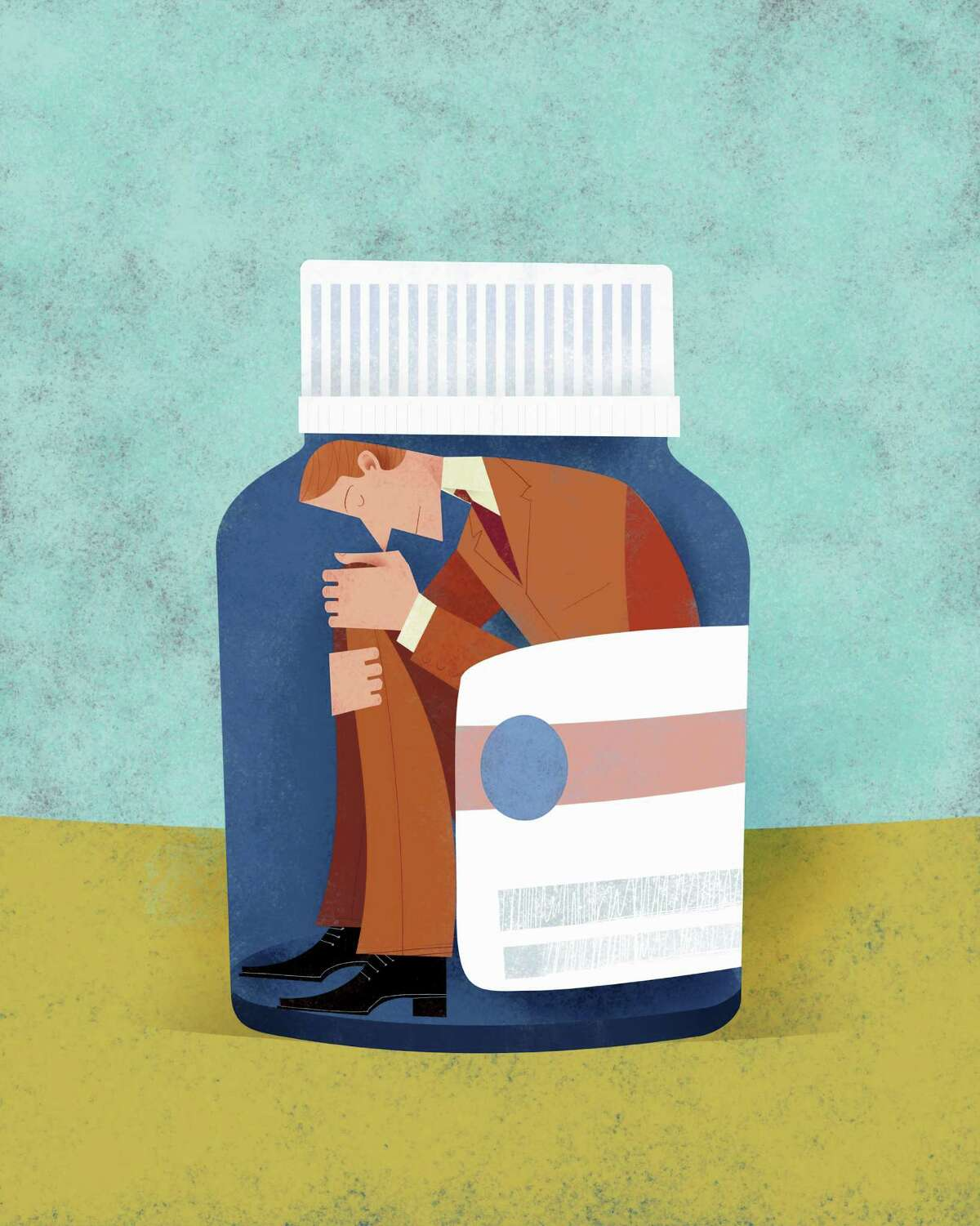 Unhappy man trapped inside of pill bottle