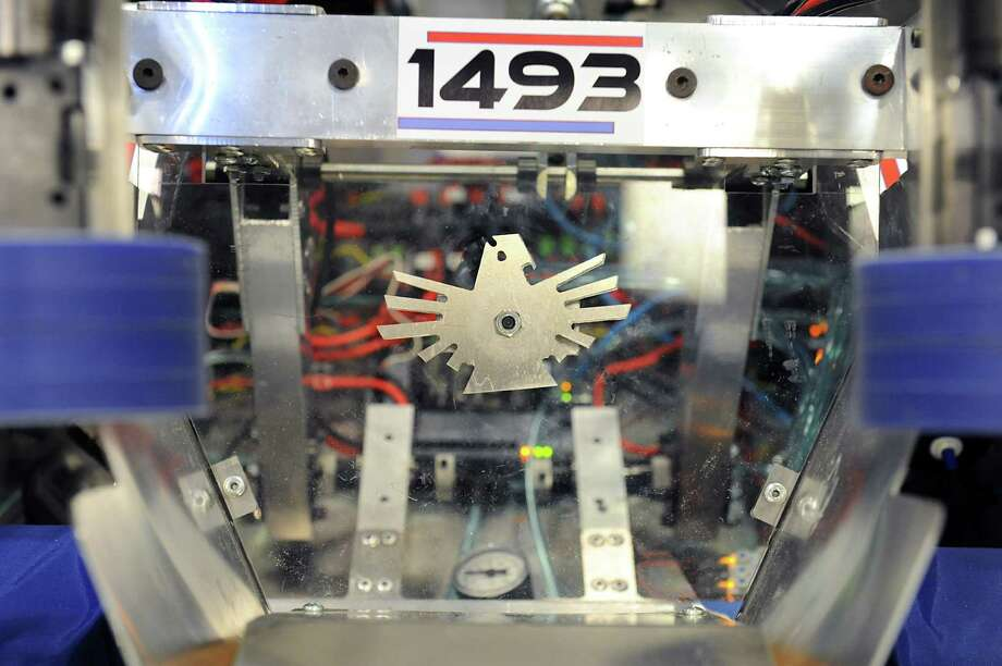 A falcon symbol which was generated on a computer and made on a machine in school is seen on the robot the robotics team built at Albany High School on Tuesday, Feb. 23, 2016 in Albany, N.Y. (Lori Van Buren / Times Union) Photo: Lori Van Buren / 10035543A