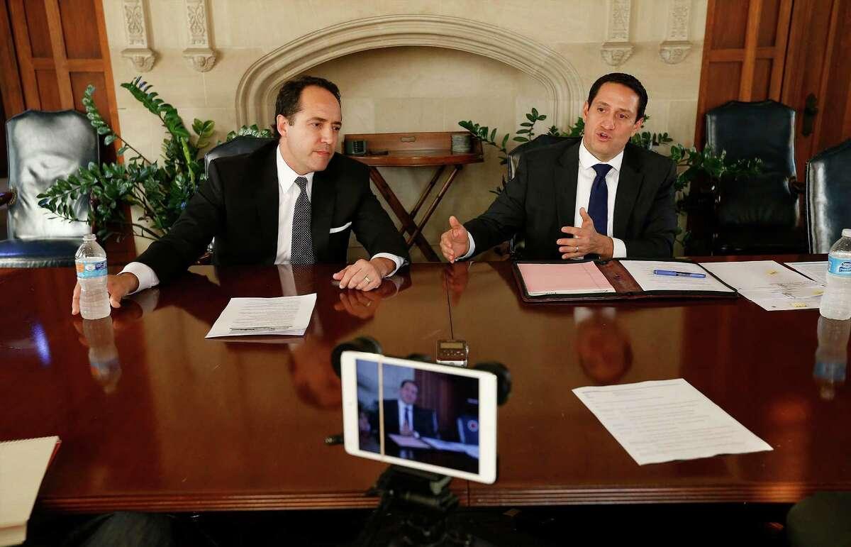 Texas Senator José Menéndez (left), Dist. 26, and his challenger Trey Martinez-Fischer meet with the San Antonio Express-News editorial board on Friday, Jan. 8, 2016. (Kin Man Hui/San Antonio Express-News)