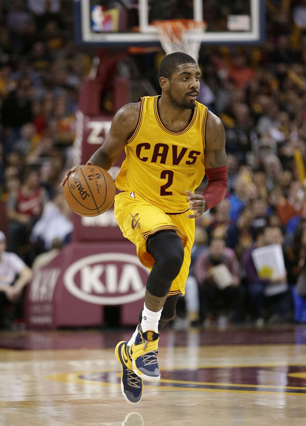 Cleveland Cavaliers' Kyrie Irving (2) drives against the New Orleans Pelicans in the second half of an NBA basketball game Saturday, Feb. 6, 2016, in Cleveland. (AP Photo/Tony Dejak)