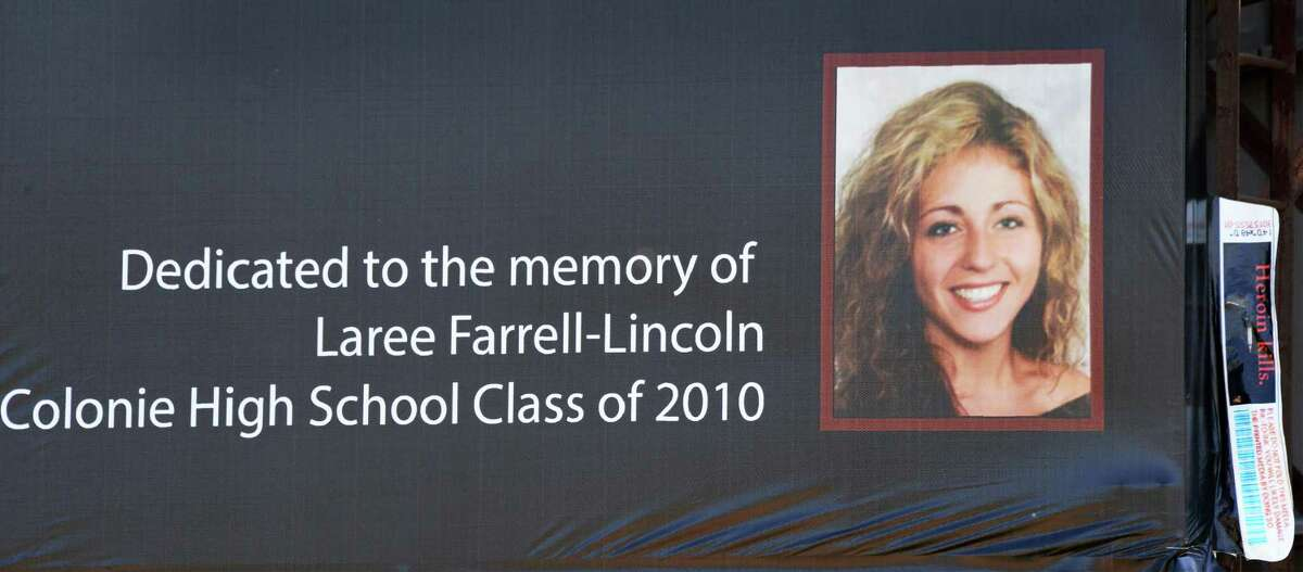 Detail from this year's Colonie Central High School public service billboard in memory of Colonie graduate lost to heroin use, Laree Farrell-Lincoln, on Thursday May 7, 2015, in Colonie, N.Y. (John Carl D'Annibale / Times Union archive)