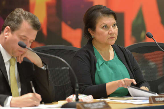 SAISD Trustee Debra Guerrero listens to advocates for a living wage for district staff speak to the board recently.