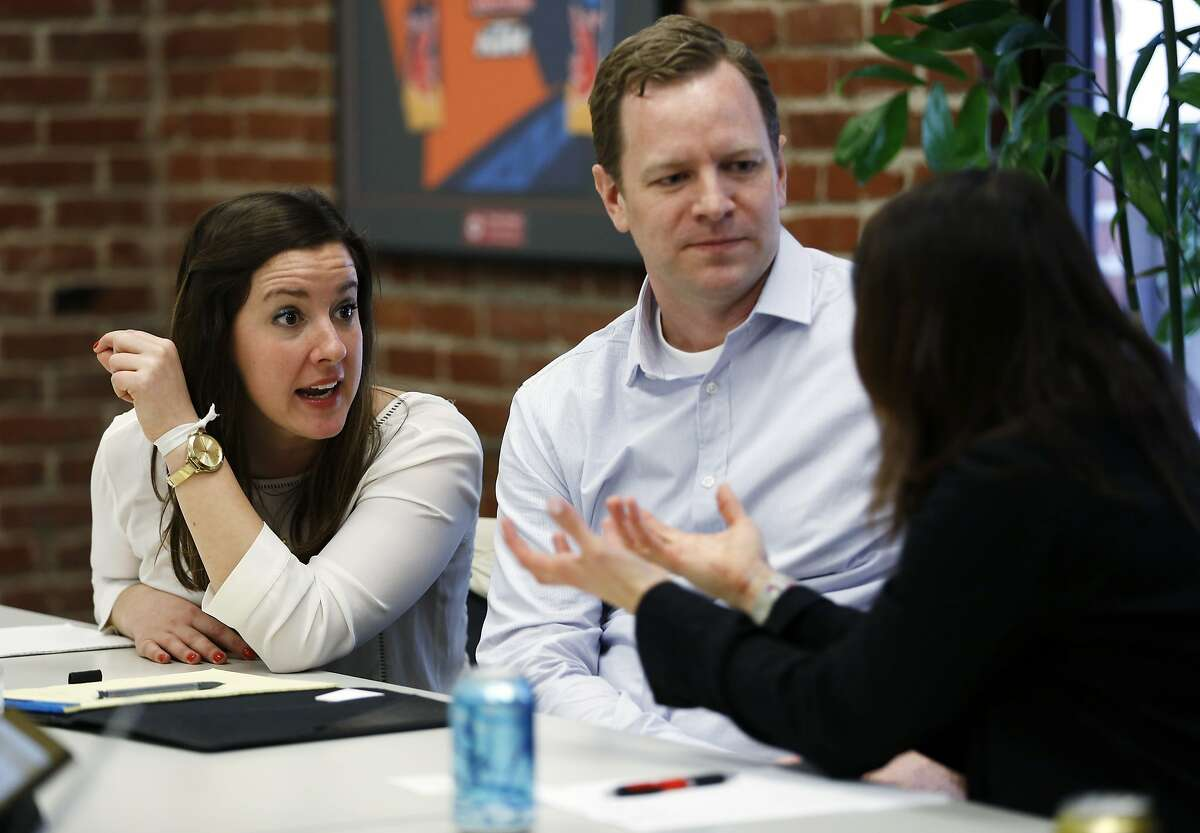 Target Baby buyers Rebecca Rothschild (left) and Nick Stark talk to Target vice president Amanda Nusz during a meeting at Target offices in San Francisco, California, on Tuesday, Feb. 23, 2016.