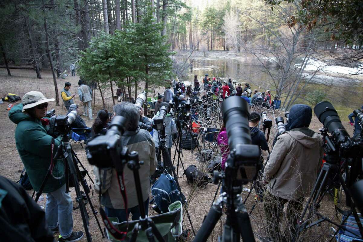 In this 2016 file photo, photographers compete for a good spot to shoot the firefall by the Merced River in Yosemite National Park.