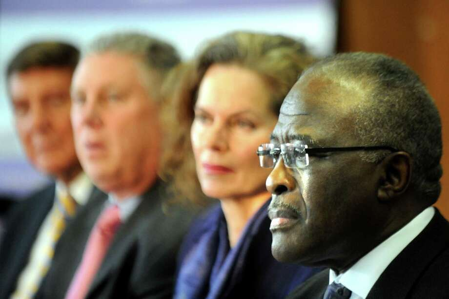 UAlbany President Robert Jones, right, during a news conference on Tuesday, Feb. 23, 2016, at the Schuyler Building in Albany, N.Y. Joining him, from left, Albany Medical Center CEO James Barba, and Assembly members John T. McDonald III and Patricia A. Fahy. (Cindy Schultz / Times Union) Photo: Cindy Schultz / Albany Times Union