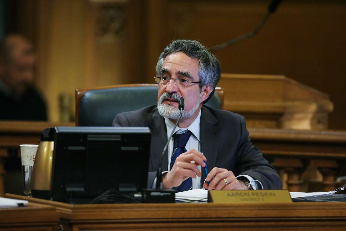 Supervisor Aaron Peskin gives his opening remarks during a Board of Supervisors meeting at City Hall, in San Francisco, California on Tuesday, February 23, 2016.