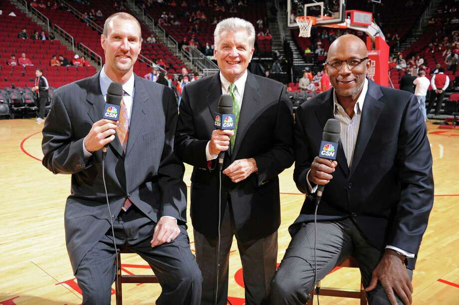 Bill Worrell, center, with Matt Bullard, right, and Clyde Drexler in a Rockets pre-game show. HOUSTON, TX - JANUARY 18:  NBA Legends Matt Bullard and Clyde Drexler and Bill Worrell Television Broadcast Team of the Houston Rockets pose for a photo before the game against the Milwaukee Bucks on January 18, 2014 at the Toyota Center in Houston, Texas. NOTE TO USER: User expressly acknowledges and agrees that, by downloading and or using this photograph, User is consenting to the terms and conditions of the Getty Images License Agreement. Mandatory Copyright Notice: Copyright 2014 NBAE (Photo by Bill Baptist/NBAE via Getty Images) Photo: Bill Baptist, Contributor / 2014 NBAE