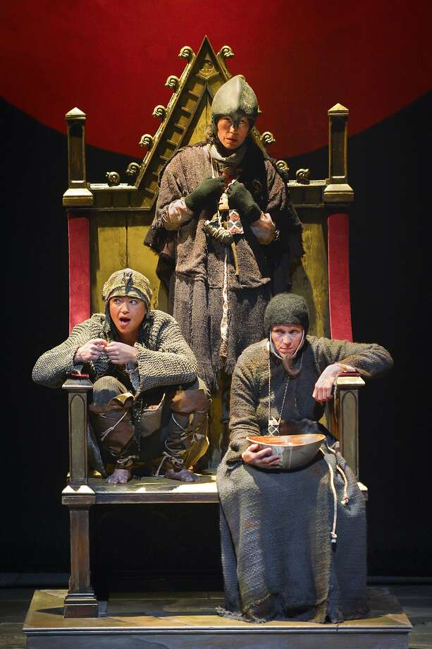 The Witches — Rami Margron (left), Mia Tagano and Frances McDormand — occupy the throne of Scotland. Photo: Kevinberne.com