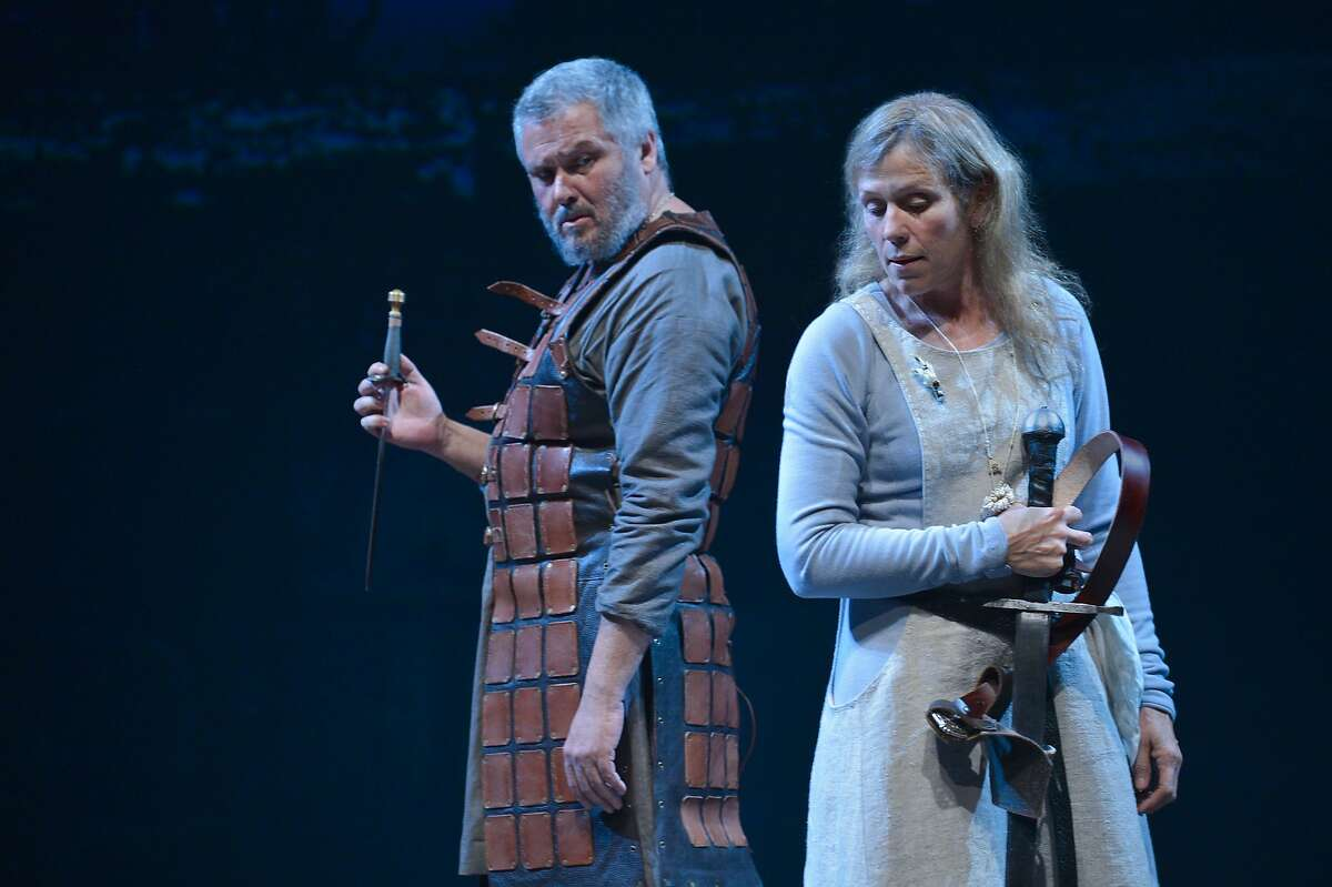 Macbeth (Conleth Hill, left) and Lady Macbeth (Frances McDormand) consider their path to the throne in