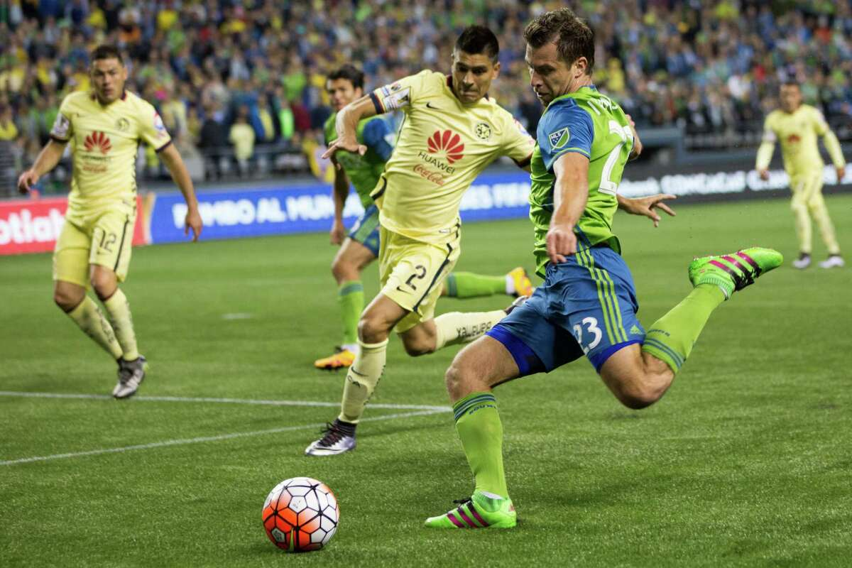 Seattle Sounders' Andreas Ivanschitz makes an attempt at Club America's goal during a CONCACAF Champions League quarterfinals match at CenturyLink Field in Seattle on Tuesday, Feb. 23, 2016.