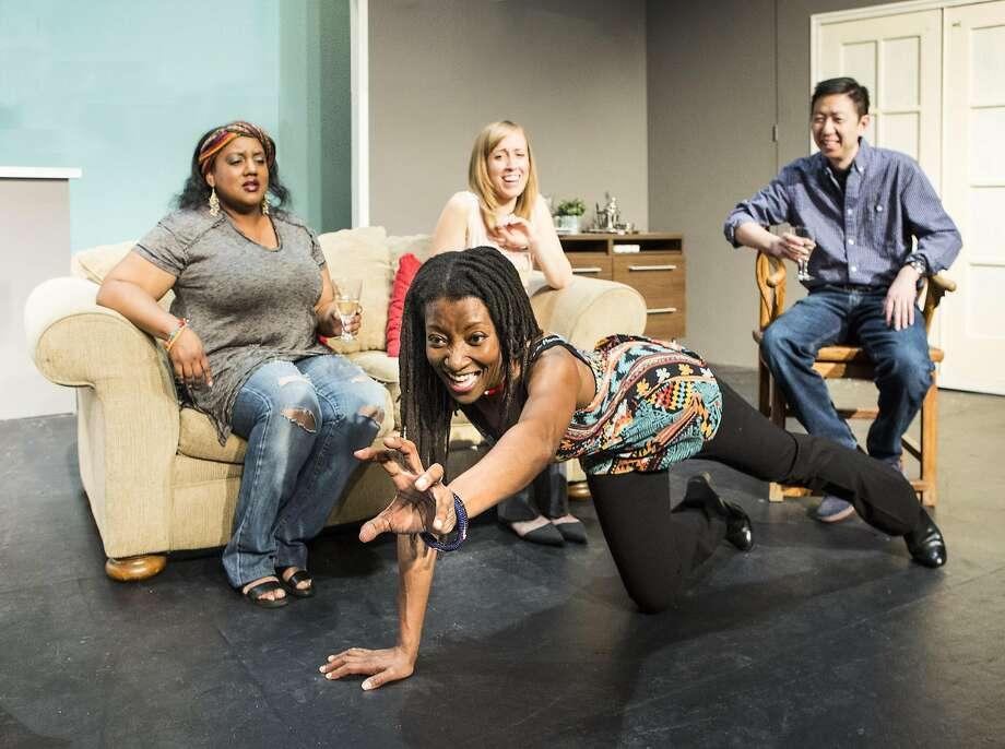 "Alexaendrai Bond, Nkechi Emeruwa, Melissa Keith and Hawlan Ng in ""The Call"" at Theatre Rhinoceros Photo: David Wilson"