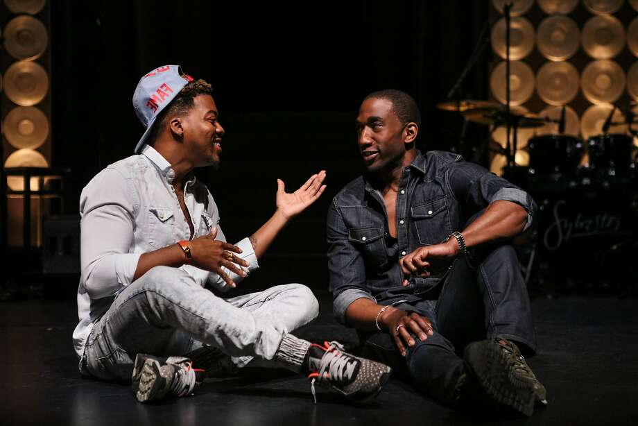 "Director Kendrell Bowman (left) and actor Anthony Wayne of ""Mighty Real: A Fabulous Sylvester Musical"" chat onstage at the Brava Theater in San Francisco. Photo: Gabrielle Lurie, Special To The Chronicle"
