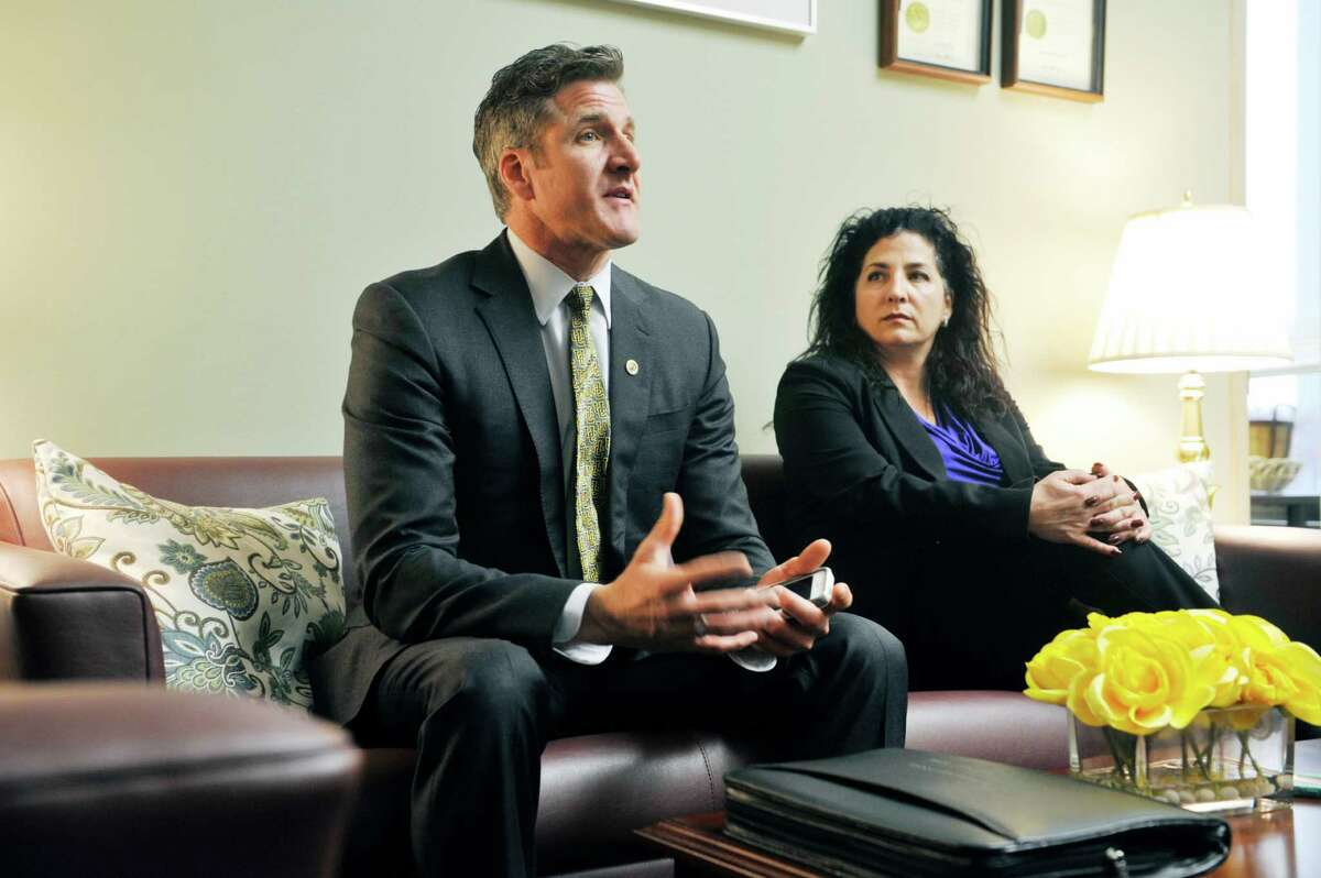 Dan Diaz, left, the widower of Brittany Maynard, and Senator Diane Savino talk in the Senator's office on Wednesday, Feb. 24, 2016, in Albany, N.Y. Diaz and Maynard had moved to Oregon to take advantage of physician-assisted suicide laws there. Diaz is at the Capitol to advocate for similar legislation here in New York State. (Paul Buckowski / Times Union)
