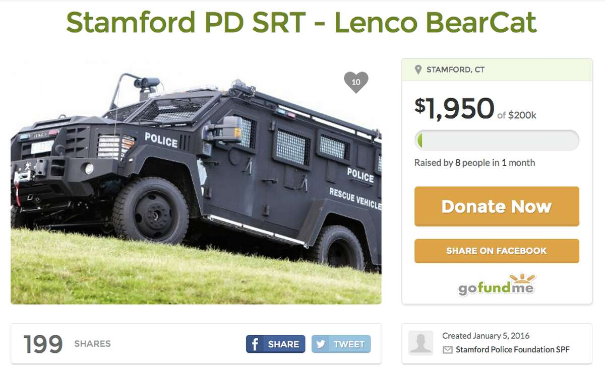 BearCat for the city of Stamford Total sought: $200,000Overview: The Stamford Police Foundation seeks a Lenco Bearcat for the Stamford Police Department Special Response TeamGoFundMe Page