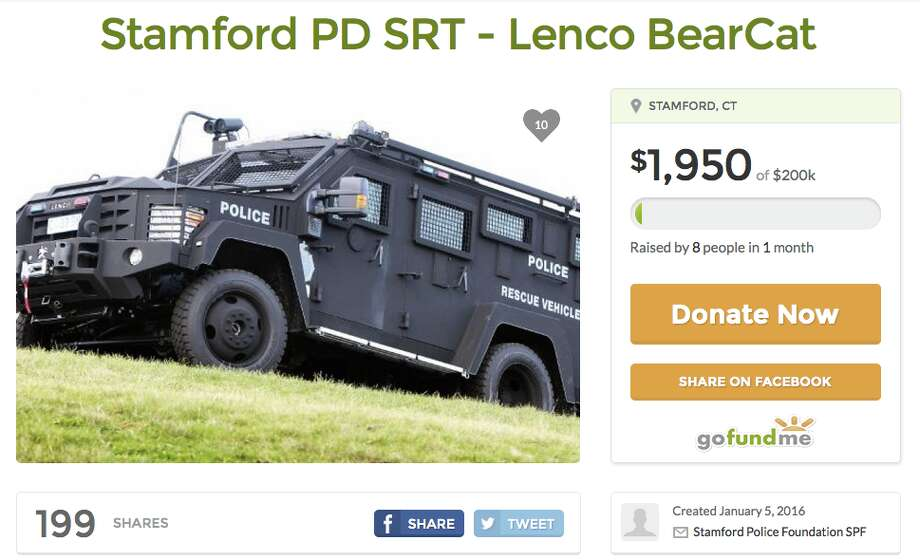 """BearCat for the city of StamfordTotal sought: $200,000Overview: The Stamford Police Foundation seeks a Lenco Bearcat for the Stamford Police Department Special Response TeamGoFundMe Page""""The  BearCat is widely used to protect law enforcement and rescue civilian  populations in weather-related disasters, high risk warrant service and  active shooter scenarios....Stamford is the 4th largest city in  Connecticut. Each of the three larger cities: Bridgeport, New Haven and  Hartford have BearCats currently in service - Hartford and Bridgeport  have two to cover their populations.  A BearCat in Stamford would not  only cover the population of the city, but would be available to  neighboring towns during crisis situations."""" (Screenshot taken 2/24/2016) Photo: Gofundme.com"""