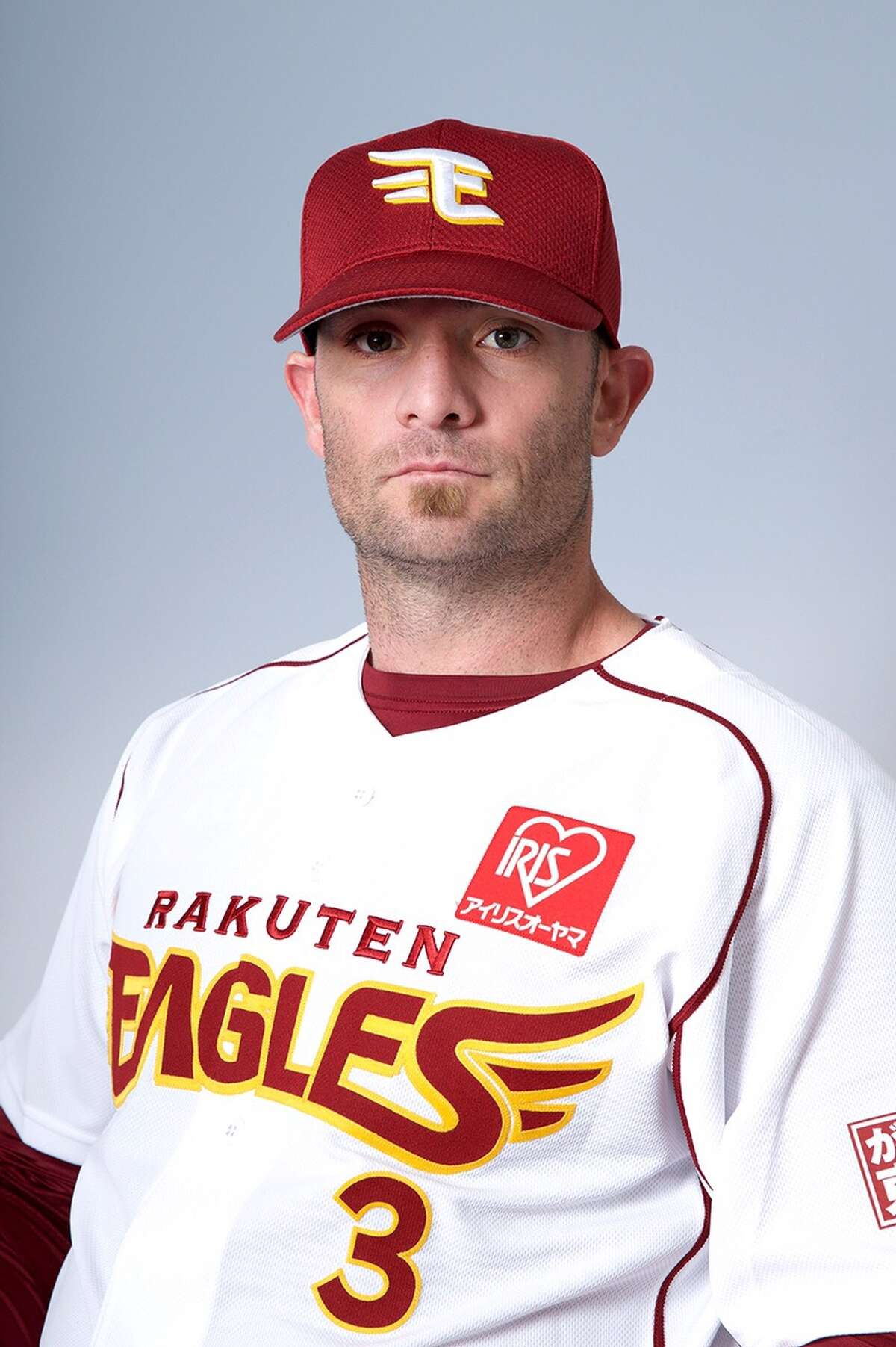 Jonny Gomes posing on his first day of spring training with the Rakuten Golden Eagles in Japan. February 23, 2016.
