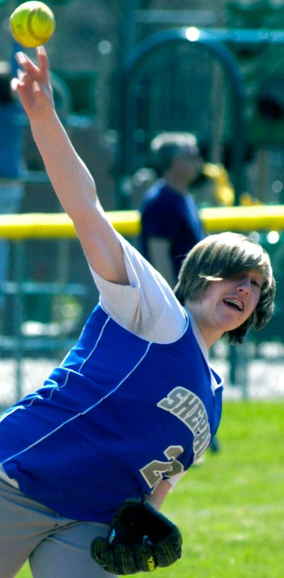 SPECTRUM/Shepaug Valley High School softball shortstop Nikki Hartman makes a throw during April 3, 2010 scrimmage vs. Weston at Ayer Field.