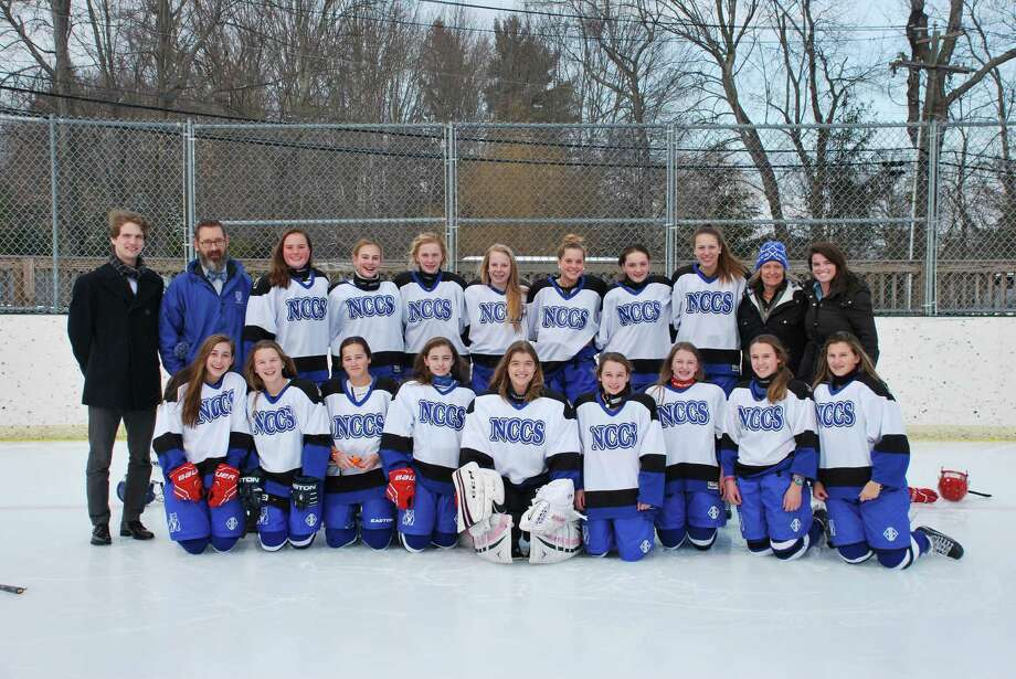 The New Canaan Country School girls varsity hockey team placed third at the 17th Girlsí Invitational Hockey Tournament hosted by Upland Country Day School, Kennett Square, Penn., Jan. 30-31. They had a decisive 3-0 win against Greenwich Country Day School, tied two games, 2-2 against Lansdale Catholic High School and 3-3 against Rumsey Hall School, and lost to Upland 1-2. Names (L to R) Top- Coach Andrew Dole, Coach Scott Lilley, Sloane Latimer (Darien), Lucy Jones (Darien), Katie Stevens (Darien), Brynn McClymont (Darien), Mimi Pastor (Darien), Grace English (New Canaan), Christina Halloran (Darien), Coach Caryn Purcell, Coach Lindsey MacDonald Bottom- Amalia Calderini (Greenwich), Alice Purkiss (Ridgefield), Lily von Stade (Darien), Meghan Griffiths (New Canaan), Eloise Leclerc (Darien), Lauren Walsh (Wilton), Elizabeth Woodbury (Darien), Ellie Boeschenstein (New Canaan), Ella Green (Darien). Photo: Contributed / Darien News