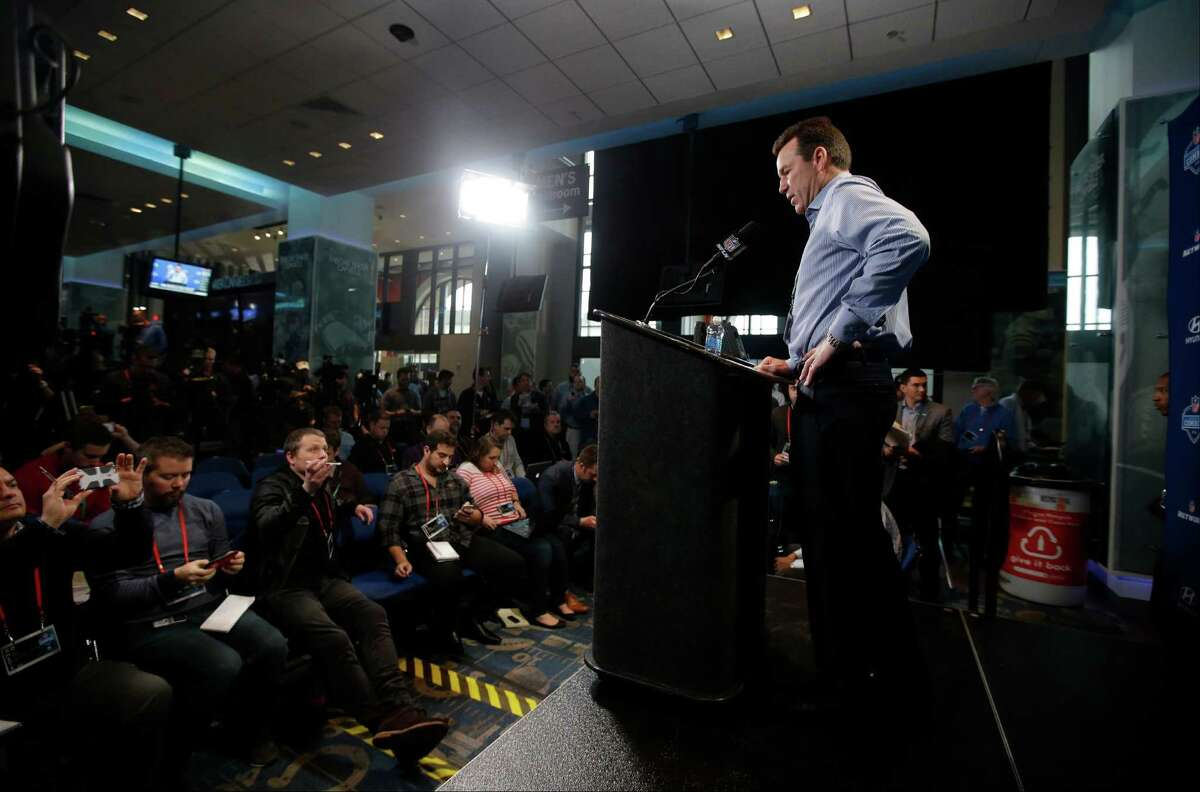Denver Broncos head coach Gary Kubiak responds to a question during a news conference at the NFL football scouting combine Wednesday, Feb. 24, 2016, in Indianapolis. (AP Photo/Darron Cummings)
