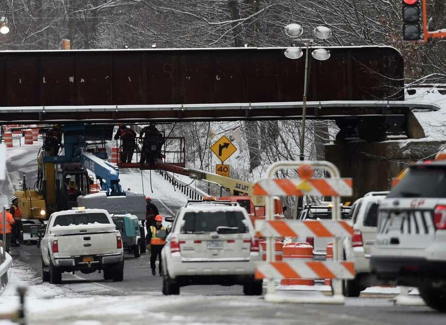 Repairs on the the CP Rail bridge over Route 67 caused a road closure this morning Feb. 9, 2015 in Ballston Spa, N.Y.      (Skip Dickstein/Times Union) Photo: SKIP DICKSTEIN