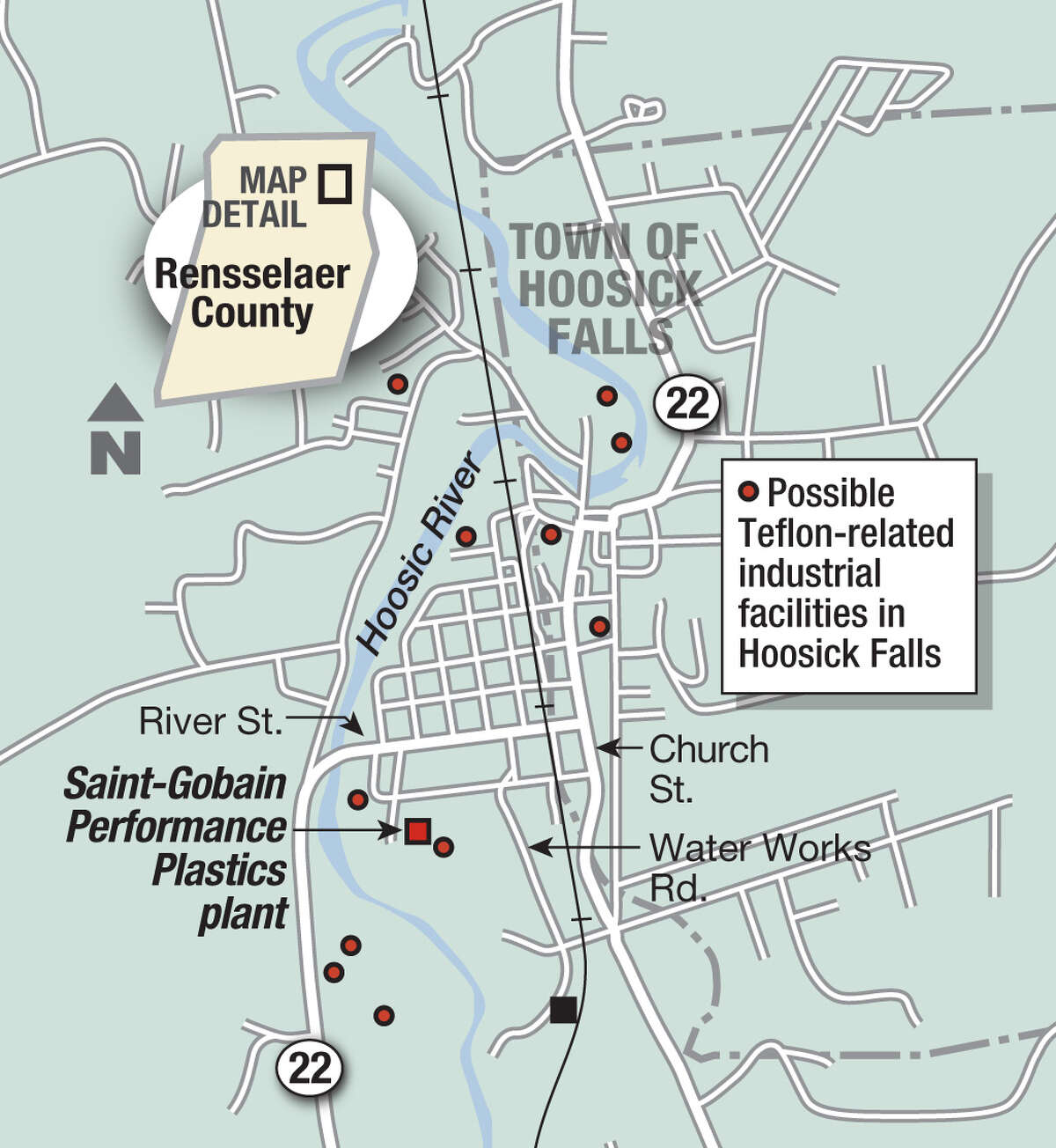 The DEC released a map in January identifying 11 current and former manufacturing sites in Hoosick Falls where it said PFOA chemicals may have been used in processing. The sites are John Street, McCaffrey Street, Carey Avenue, Church Street, three locations on River Road, Liberty Street, First Street and two locations on Mechanic Street.