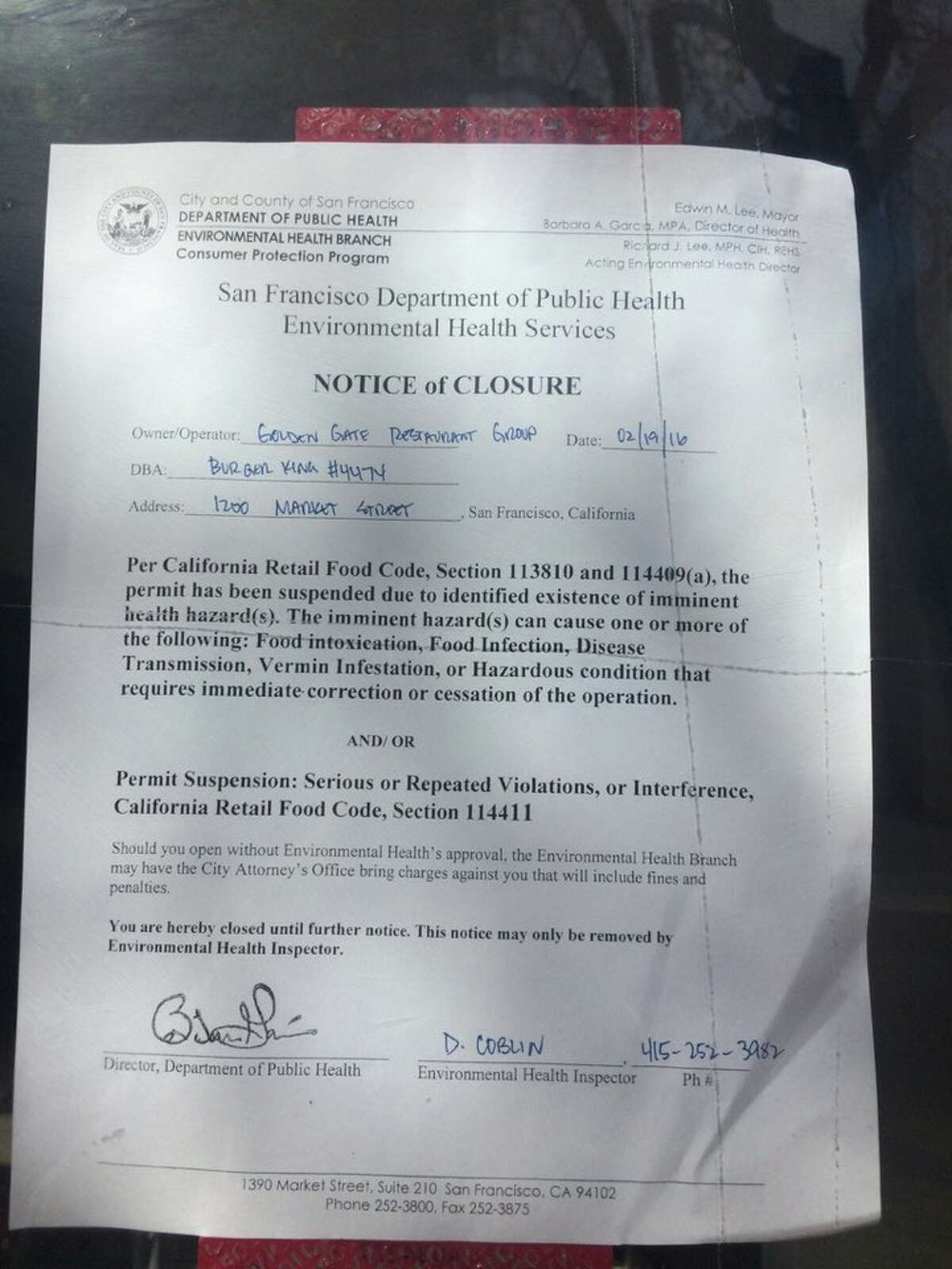 The notice of closure posted at the Market Street location of Burger King.