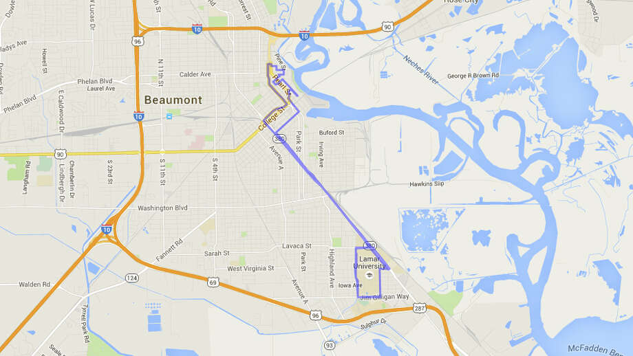 What does the Gusher route look in Southeast Texas and around the world?At roughly 13.1 miles, the Gusher Half Marathon course around Beaumont (twice around for the marathon) covers a lot of ground. Click through the slides to see how far the Gusher course could get you in other Southeast Texas towns and in other places around the world.  Photo: MapFrappe,  Google Maps