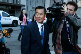 Former state Sen. Leland Yee leaves the Phillip Burton Federal Courthouse after receiving a five year prison sentence and a $20,000 fine in a federal bribery and corruption case in San Francisco, Calif. on Wednesday, Feb. 24, 2016.