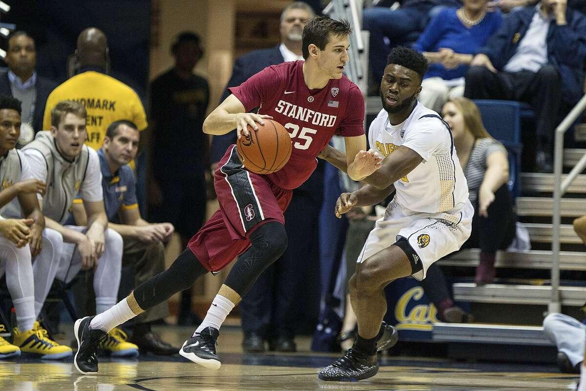 Stanford forward Rosco Allen drives against Cal's Jaylen Brown.